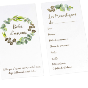 Cartes de pronostique pour Baby Shower